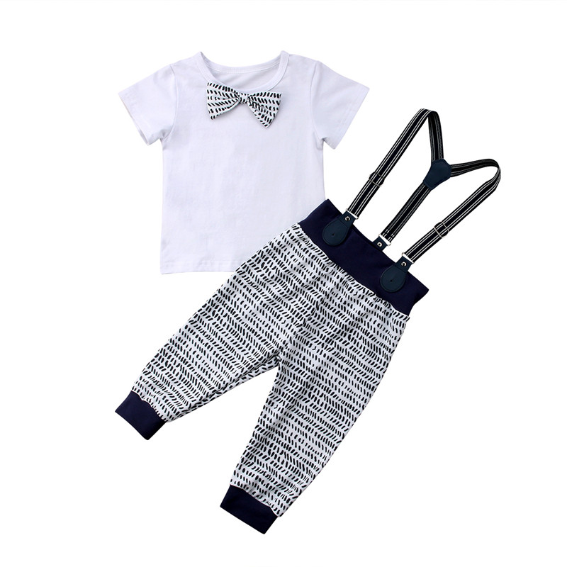 Formal Party Clothes Newborn Baby Boy Bow Knot Tops T-shirt+Bib Pants Outfits AU Children Set Carters Baby Boy Fashion Sets