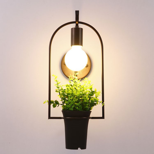 American Country Creative Plant Flowerpot Wall Light Lamp For Dining Room Living Balcony