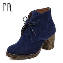5 Cores Mulheres Botas do Tornozelo da Plataforma Dedo Do Pé Redondo Lace-Up Botas de Inverno Sapatos Mulher Genuína Botas De Couro Senhoras Outono tamanho 35-42