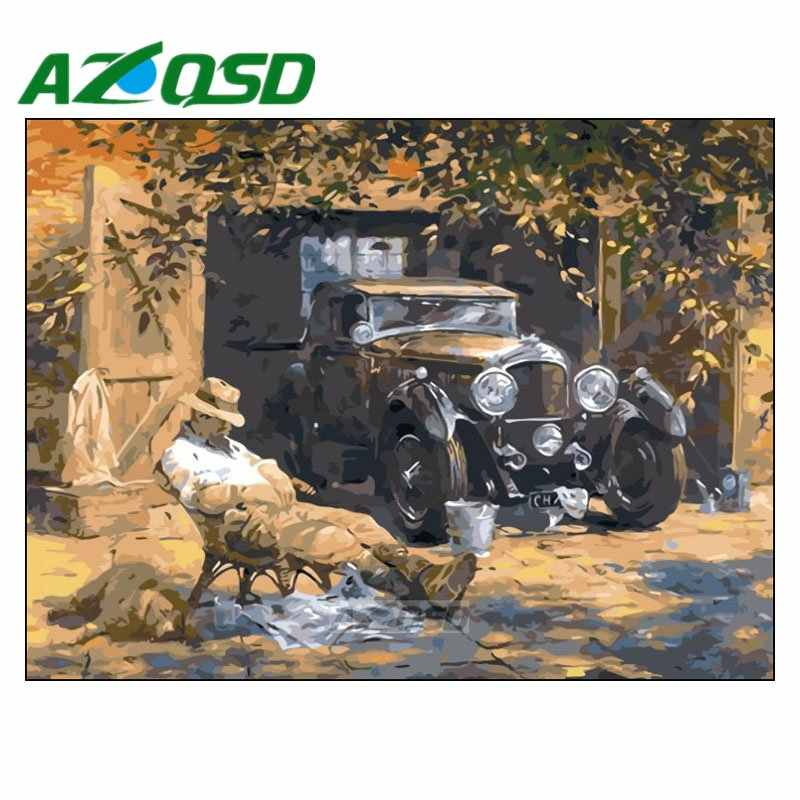 AZQSD Oil Paint On Canvas handmade Acrylic Modular Decor Digital Oil Painting Home Decor Frameless painting size 40x50cm szyh153