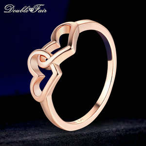 Double Fair Heart to Heart Romantic Rings Rose Gold/Silver Color Fashion Engagement Jewelry