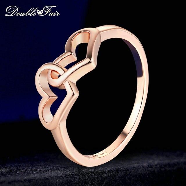 Justo dupla Coração para Coração Romântico Anéis em Ouro Rosa/Cor Prata Moda Engagement Jóias Para Os Amantes Das Mulheres Por Atacado DFR215M