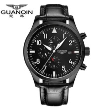 Men Watches 2015 Luxury Brand GUANQIN Genuine Leather Strap Sport Military Army Watches Men Automatic Mechanical Movement