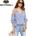 Blouses Women Summer 2017 New Off Shoulder Tops Long Sleeve  Deep V-neck Sexy  Women's Shirts Strap Blusas Blue Big Size XL