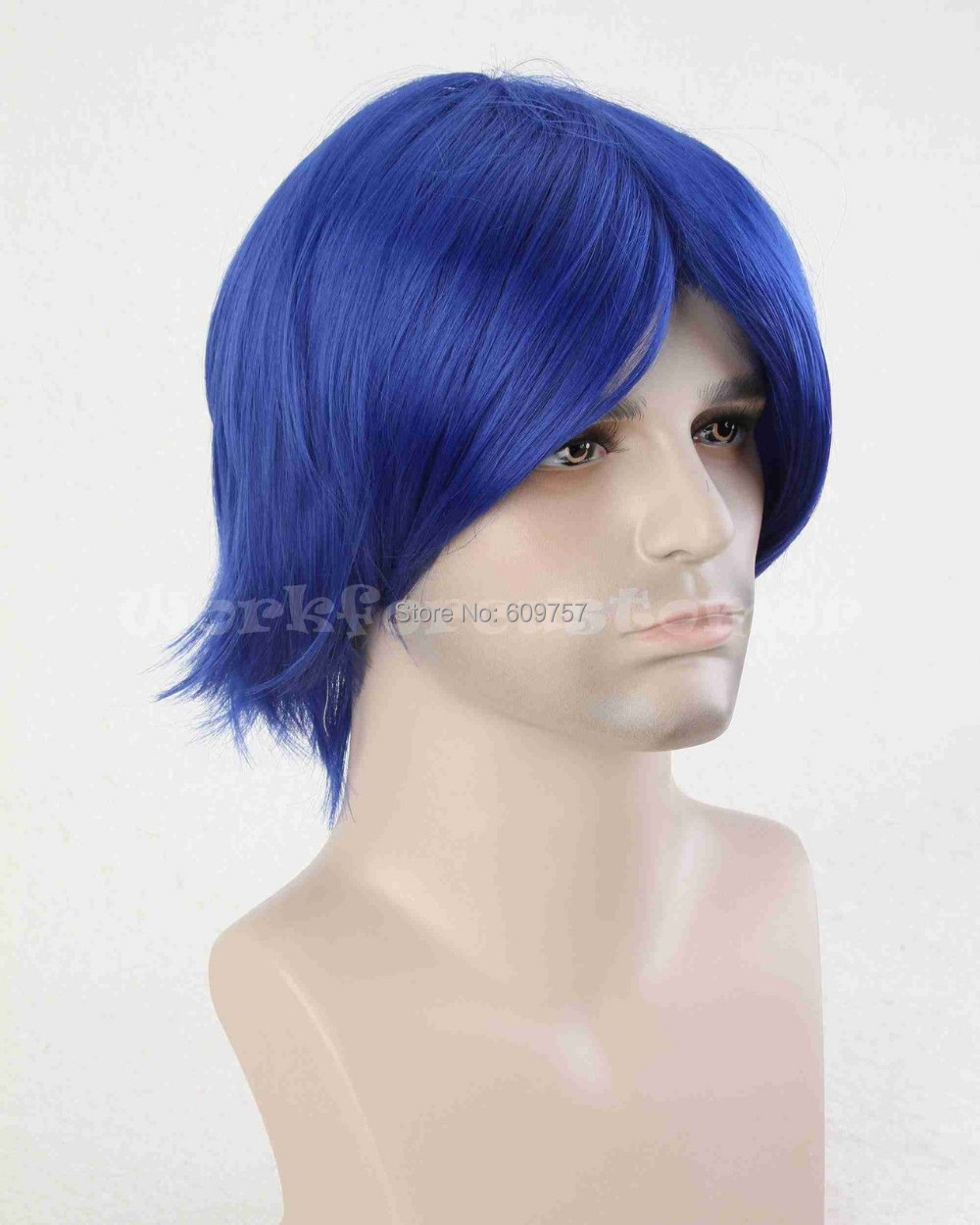Cool Men s Anime Costume Short Cosplay Party Wig boys Blue synthetic queen  Unisex male man s Kanekalon hair no lace Front Wigs-in Men s Costumes from  ... a8fda61b6