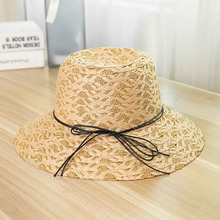 New 2019 Summer Fashion Hat Casual Lady Brand Women Flat Brim Bowknot Straw Cap Girls Sun Spring And Bow Visor