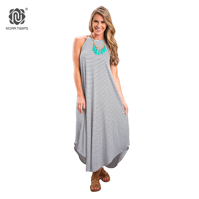 700ed1c25a NORA TWIPS 2018 Women Loose Casual Ankle-Length Maxi Dress Polyester  Knitted Striped Dresses For Women Plus Size Summer Dress XL