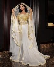 Wunderschöne Dubai Arabien Kaftan Elfenbein abendkleider gold spitze appliques long sleeves abendkleid kleid vestido de festa