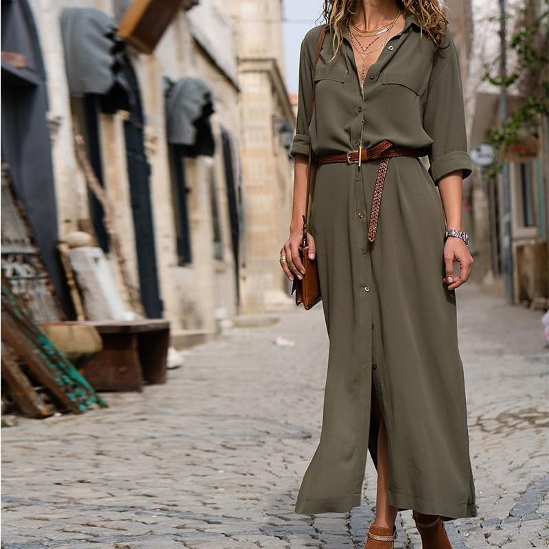 Sleeve Button Shirt Maxi Dress Fashion Women Casual Long Dress Autumn