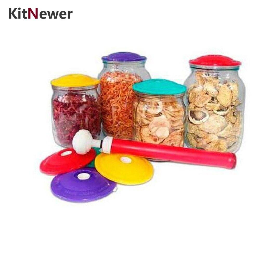 KITNEWE 9 Covers In 1 Set Jar Sealers Suction Vacuum Cover Sealing Sealer Food Saving Storage Bags Keep Food Fresh Canning Set