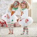 Conjunto de Roupas de natal 2016 Inverno Festival Roupas Bebes T-shirt + Pantskirt 2 PCS Meninas Roupas Da Moda Decoração Veados 1-5 T
