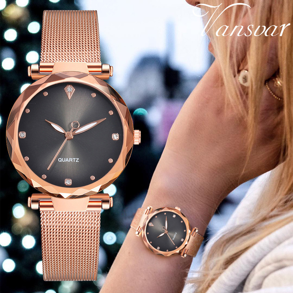 Women Watches Relogio Bayan Kol Saati Feminino vansvar Casual Quartz Stainless Steel Band Newv Strap Watch Analog Wrist Watch
