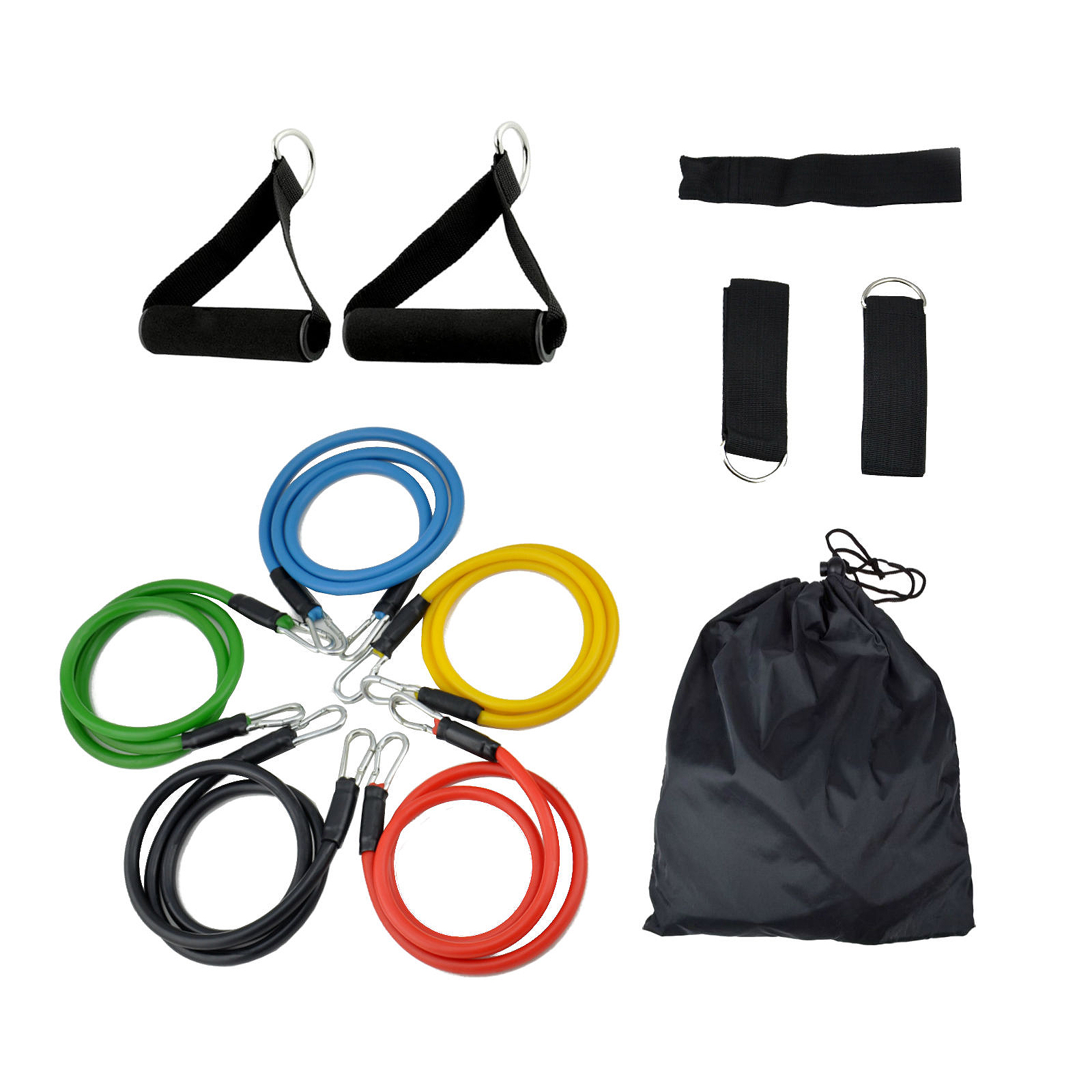 RESISTANCE BANDS Set For Yoga Abs Pilates Fitness Exercise Workout 11 Pieces