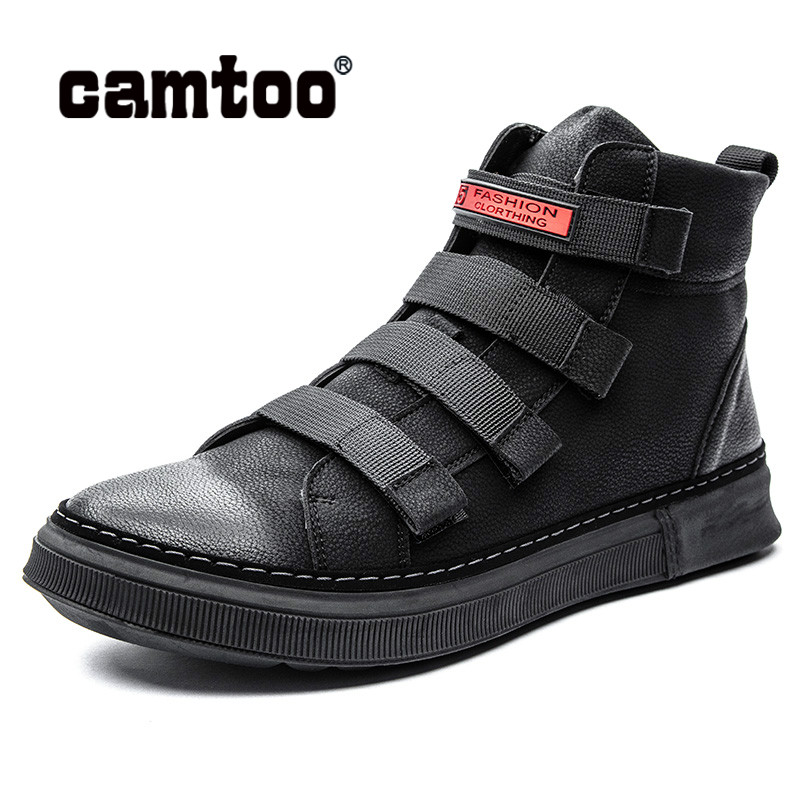 CAMTOO Spring Casual Mens Shoes Genuine Leather Men Boots Fashion  Ankle Boots Platform Sneakers Comfortable Man FootwearCAMTOO Spring Casual Mens Shoes Genuine Leather Men Boots Fashion  Ankle Boots Platform Sneakers Comfortable Man Footwear