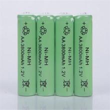 10PCS 1.2V AA Rechargeable 3800mAh 2A Neutral Battery Rechargeable  battery  aa  batteries Free shipping