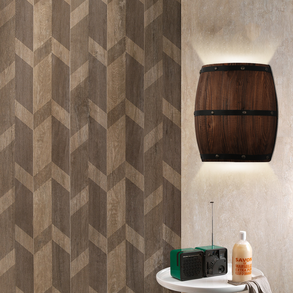 Wooden Barrel Wall Lamp