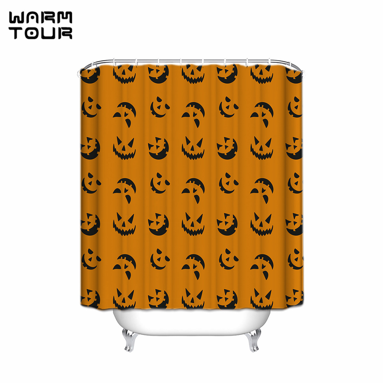 Halloween shower curtain hooks - Warm Tour New Waterproof Happy Halloween Shower Curtain High Quality Polyester Bathroom Curtain With Hooks Cortinas