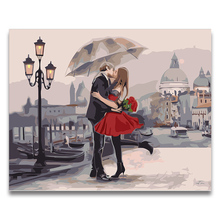 Kissing Lovers romantic on the street For Hoom Wall Decor picture painting Coloring by numbers with kits Draw  canvas Diy Gift