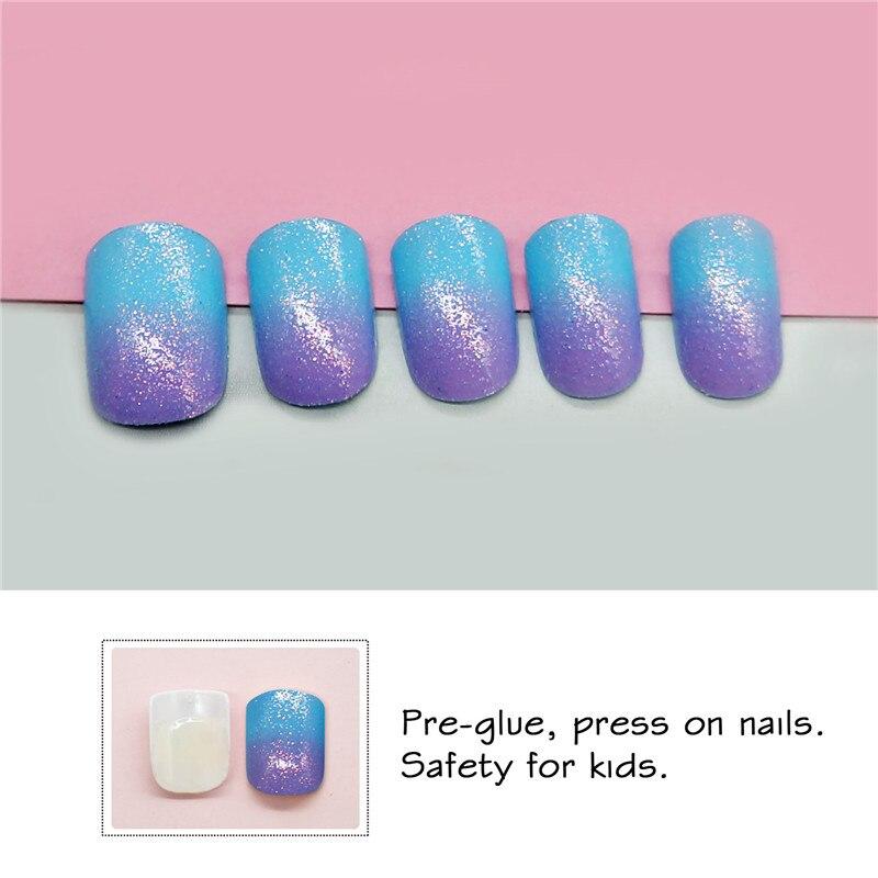 Press On Kids False Nail With Design 24pcs Blue Purple Short Full