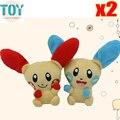 Новый 2 ШТ. Poke Пикачу Kawaii Plusle Minun Плюшевые Аниме детские Куклы 11 см Милые Peluche Кролика Банни Детей Игрушки День Рождения подарок