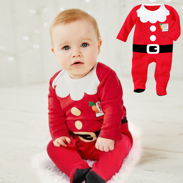 Long Sleeve Newborn Baby Christmas Clothes Santa Claus Baby Rompers Package Feet Boys Girls Climbing Clothes New Year Outwear newborn boys girls christmas santa claus infant new year clothes 4pcs santa christmas tops pants hat socks outfit set costume