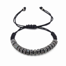 1 unids Top Brand Oro Stoppers Beads Micro Pavimentada CZ Negro macrame pulsera para hombres mujer pulsera Joyería Personalizada