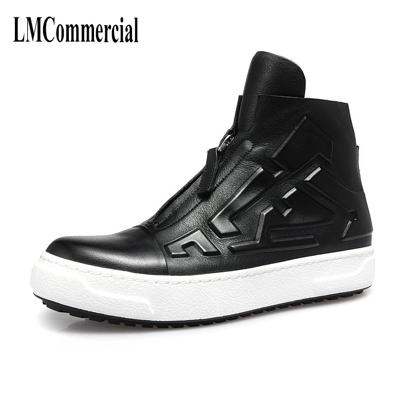 spring and autumn new leather high-top men's shoes  British breathable fashion, leisure shoes men, men's boots all-match cowhide 2017 new autumn winter british retro men shoes zipper leather breathable sneaker fashion boots men casual shoes handmade