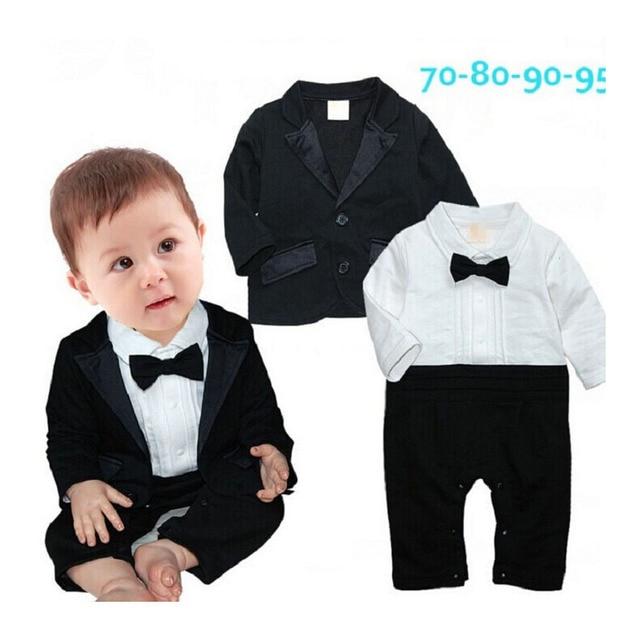 2015 otoño ropa de bebé Caballero tie manga larga recién nacido Niños Boda  boda moderna Trajes a1ac4b9078ab