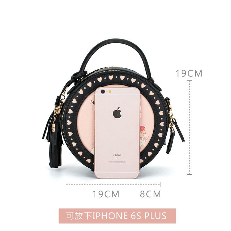 À Noir Cuir Black pink Bandoulière Imprimer Pu 2018 Petit Filles Mignon En Nouveau Dames Sacs Gland Femmes Ronde Rose 1aIxBwqC