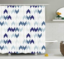 Navy Shower Curtain Abstract Ethnic Ikat Chevron With Hazy Zigzag Folk Traditional Image Purple Slate Blue
