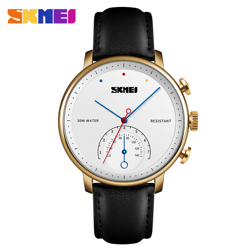 все цены на SKMEI Quartz Watch Business Men Leather Strap Watches Alloy Case 30 Waterproof Wristwatch Fashion Simple Watch Relogio Masculino онлайн