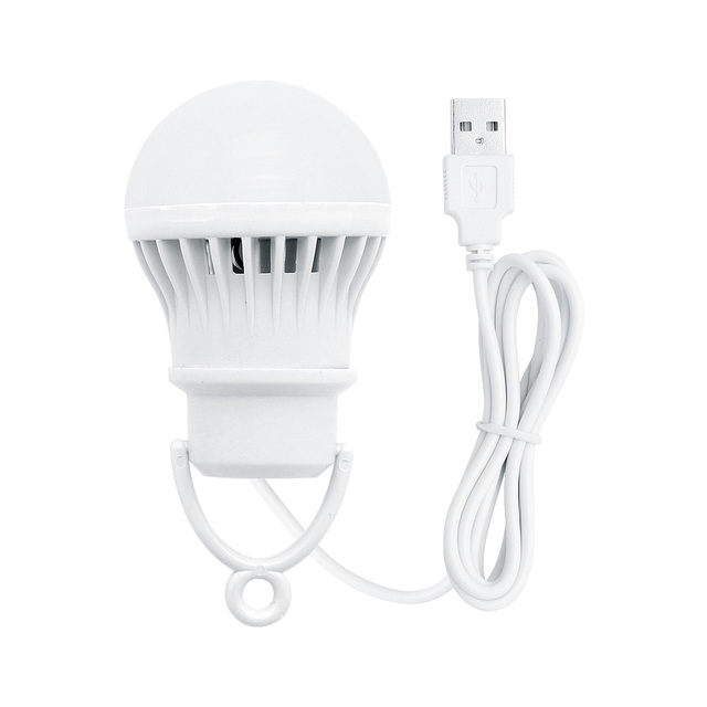 3W USB Powered LED Lamp Bulb 300lm 6500K Portable Lanterns Night Light For Outdoor Hiking Camping Fishing Tent Travel Lighting