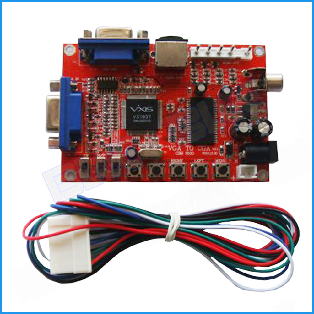 vga to cga cvbs s video arcade games converter board video game converter with wire harness [ 1000 x 1000 Pixel ]