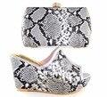 Zapato de italia Zapato Y Conjunto de Bolsas Con Piedras Africano Con Bolsos A Juego Para El Partido Sandalia Zapatos de Las Cuñas de Alta Calidad HS16019