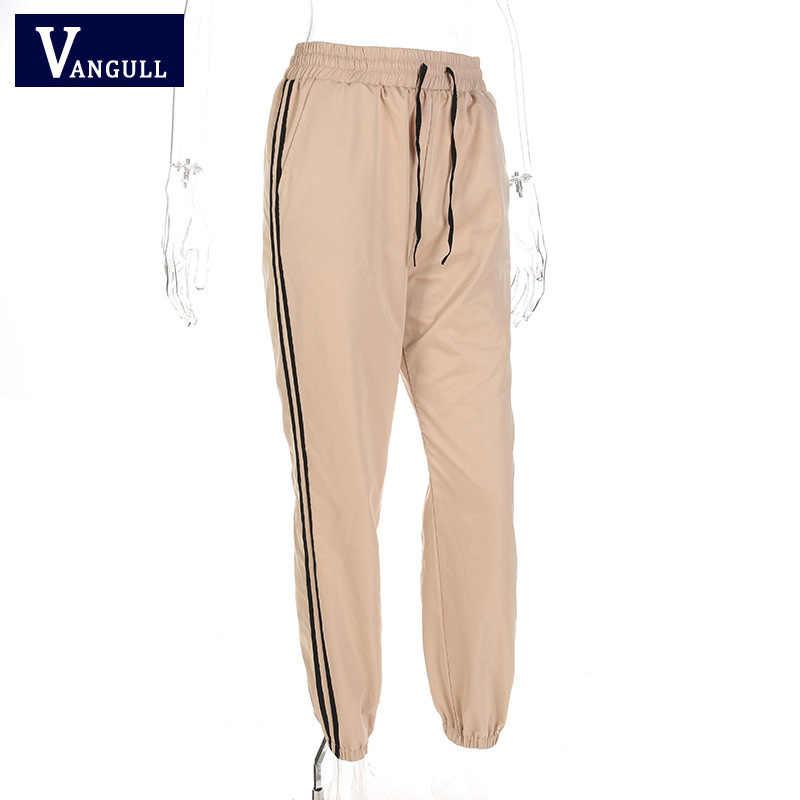 Vangull повседневные штаны женские спортивные штаны и джоггеры Лоскутные Полосатые спортивные штаны 2019 новые весенние осенние брюки с высокой талией