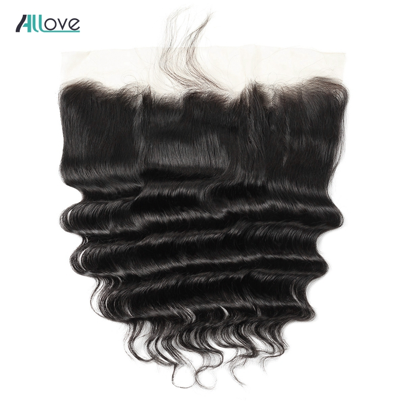 Allove Peruvian Loose Deep Wave Lace Frontal 13X4 Pre Plucked Ear To Ear Lace Frontal Closure