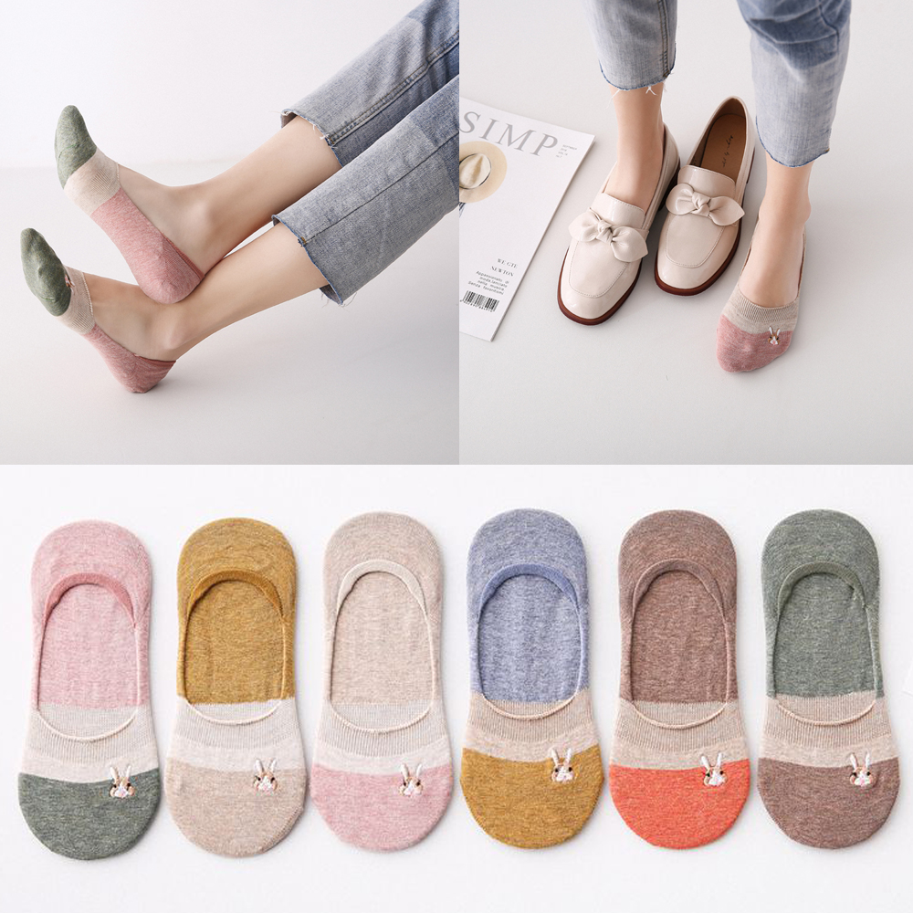 New Lady Casual Breathable Ankle Boat Socks Girls Fashion Invisible Non-slip Cotton Socks Women Low Cut Socks Short Hosiery