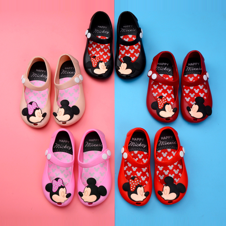 Melissa New Mini Shoes  Girls Sandals Mickey And Minnie Shoes Crystal Jelly Sandals Children Shoes Fish Head Shoes Red Black