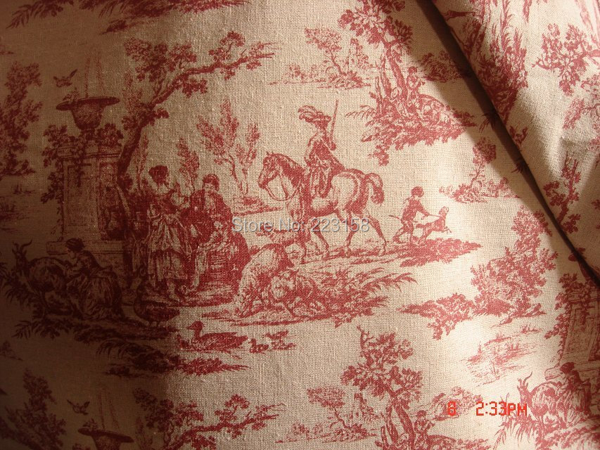 French Style Toile fabric. Horse  Zakka DIY sewing fabric(55%linen&45%cotton),suitable for soft furnishing, curtain, craft