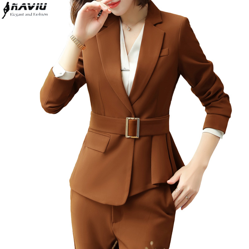 Professional wear women pants suit fashion temperament slim long sleeve blazer and pants office ladies plus