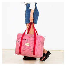 Women's Waterproof Oxford Fabric Carry On Bag Fashion Striped Zipper Travel Totes Size M