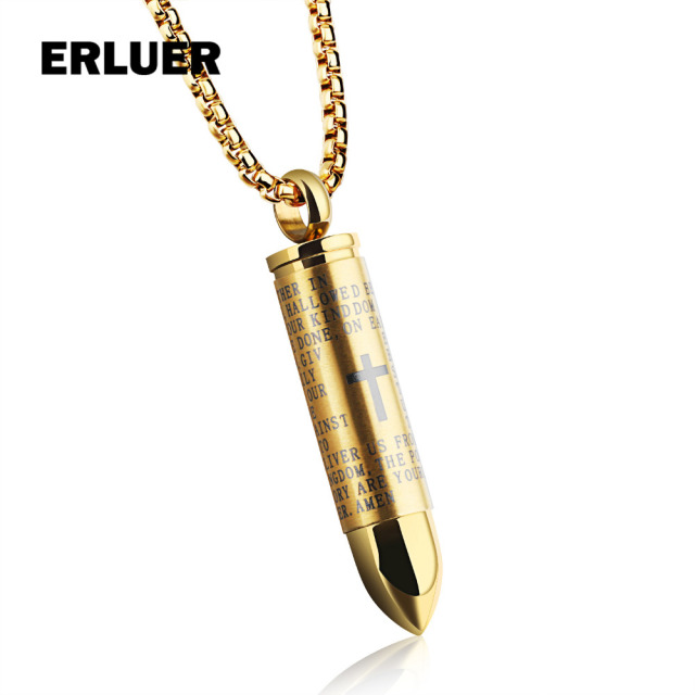 Punk stainless steel bullet necklaces for men black gold silver punk stainless steel bullet necklaces for men black gold silver cross lords prayer hollow bullet charm aloadofball Images