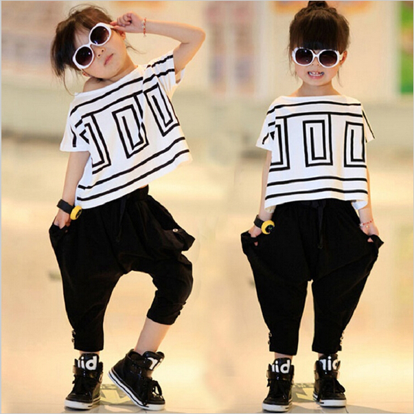 Children Hip Hop Clothing Sets Girls Sports Suit Summer Bat Sleeve Shirt+Harem Pants Kids Baby Girl Clothes Suits Girls 2pcs/set girls suit 2017 autumn children s clothing smile pattern sports set big kids girl bat long sleeve 2 pcs sets black pink clothes