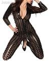Nueva Delgada Stretch Brillante Agujero Mono Del Mono Negro Plata Oro Clubwear Atractivo de la Señora de Las Mujeres de Baile de Danza DS Desgaste Del Club 28 10323