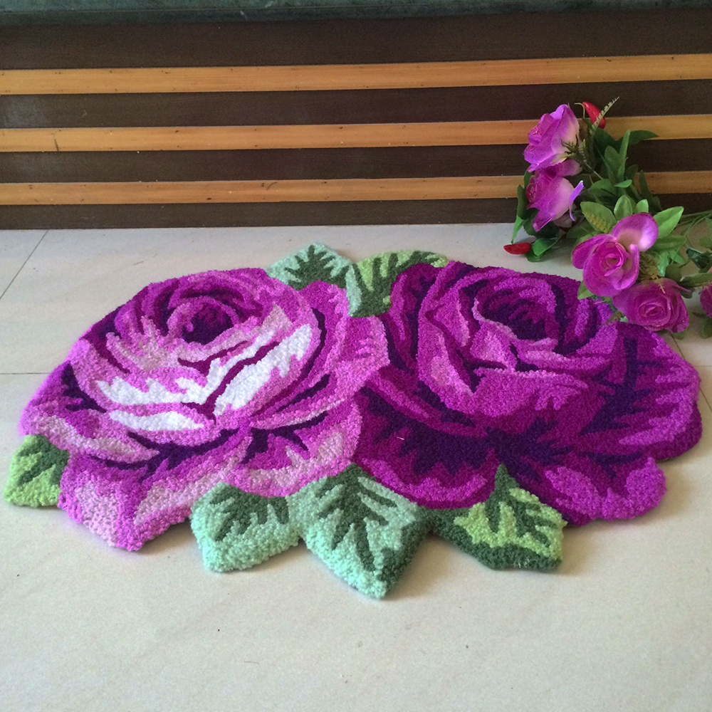 Yazi Pastorale Handmade Embroidery 3d Rose Carpet Floral Anti Slip