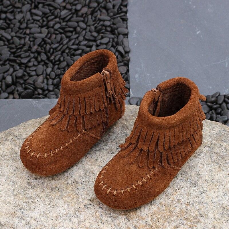 2017 Winter children genuine leather font b boots b font kids font b snow b font