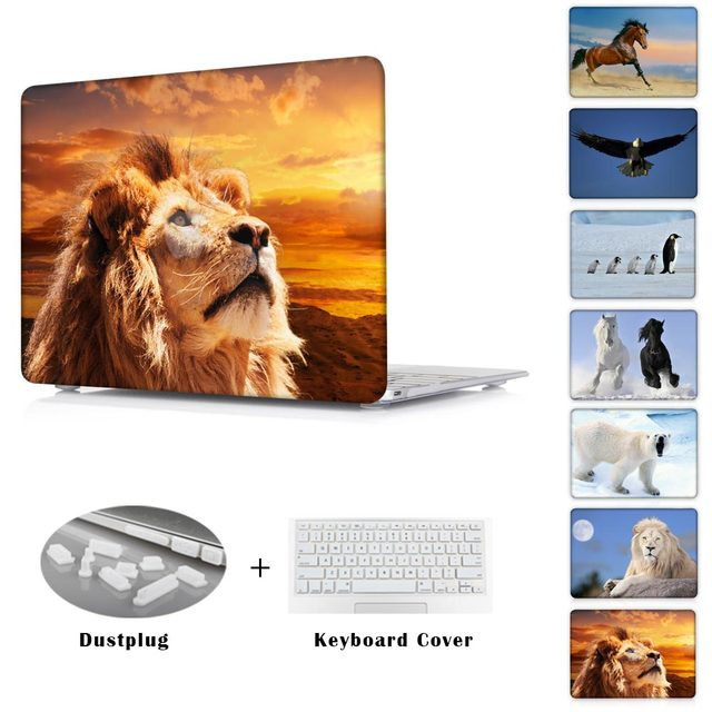 Laptop Print Protective Case For Macbook Pro Retina 13 15 inch Clear Hard Cover For AIR 13 11 inch / New Mac 12''  Animals Lion
