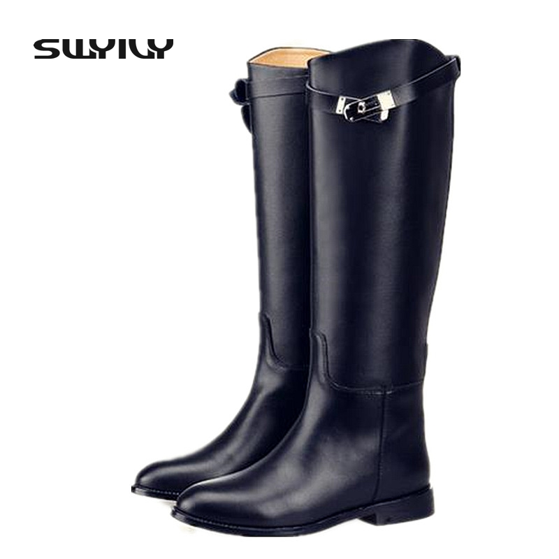 Genuine Leather High Leg Metal Lock Women's Riding Boots 2017 New Arrival Irregular Top Spring Autumn Low Heel Woman Shoes new arrival girl full leather boots spring autumn casual snow high top genuine leather boots women shoes a443