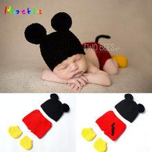 0ac44a9619f16 Crochet bébé garçon Mickey Costume tricoté nouveau-né bébé Cartoon tenues  bébé Crochet chapeau Beanie infantile noël Costume MZS.