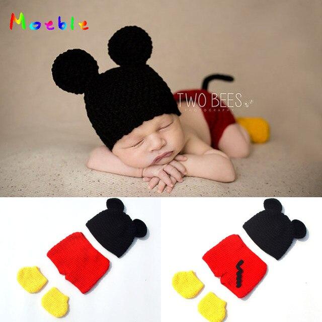 93582854e91c4 Ganchillo bebé niño Mickey disfraz tejido recién nacido bebé dibujos  animados trajes bebé ganchillo sombrero gorro